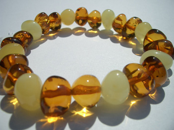 stretch amber bracelet - baroque multicolor beads