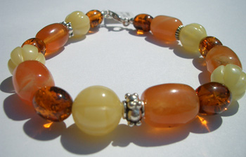 Fancy bracelet - amber beads with sterling silver