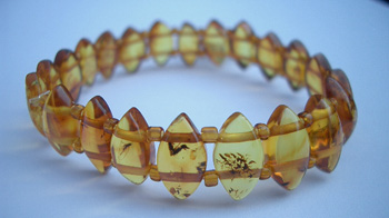 Faceted amber bracelet - faceted amber beads