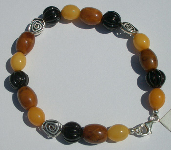 Fancy amber bracelet with sterling silver
