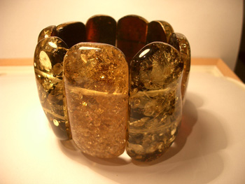 Massive amber bracelet - breen polished