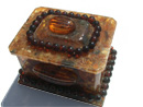 Amber jewelry box with a rose on top - Wholesale amber jewelry boxes - jewelry box
