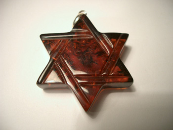 Star of David amber pendant - dark cognac color - spangled