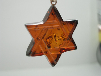 Transparent Baltic amber Star of David pendant