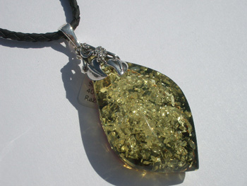 Premium quality A class amber pendant - green amber with glitter inside - natural amber piece - collection amber item