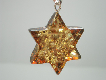 Amber star of David pendant - light green color Baltic amber