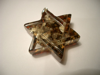 Green amber star of David pendant - Baltic amber with spangles