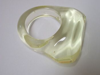 Light green amber ring - Natural Baltic amber (light green or lemon color)
