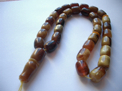 Chololate color amber rosary - 33 or 66 chocolate color box cut beads
